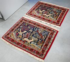 Golden opportunity: Beautiful, twin, Ghom Persian rugs – animal kingdom – collector's item – with certificate.