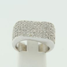 White gold ring set with brilliant cut diamonds.
