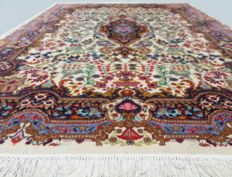 Oriental Yazd carpet - hand-knotted 280 x 200 cm - semi-antique, middle of the 20th century with certificate - cotton with 100% natural colours