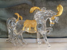 Franklin Mint - Disney Cinderella's glass crystals horses with GP saddle and feathers