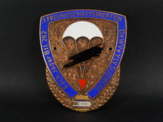 Excellent Enamel on Copper German DKWV  DKW Club Auto Car Club Badge 1963 Paratroopers Friends Meeting