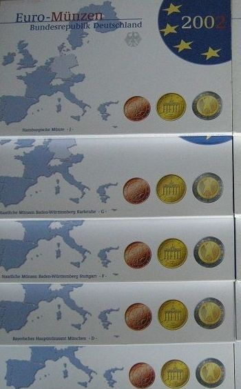 Germany – year packs 2002 A, D, F, G, J (5 pieces), complete