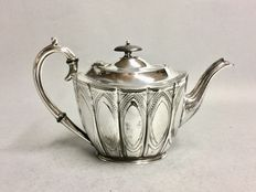 Victorian tea pot with floral decoration, B&W, Birmingham, England, ca 1900