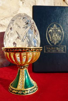 "Authentic Fabergé Imperial egg ""Crystal Green Palace"" - heavy crystal  - of Swarovski rhinestones - 24k gold plated - signed - numbered - authenticity certificate"
