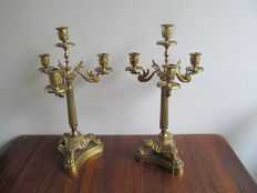 Two gilded Empire style candlesticks with 8 candle holder carried by swans - France - Ca. 1900