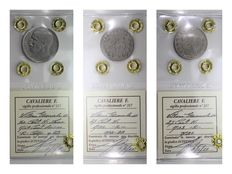 """Kingdom of Italy – 50 cent 1924 """"Lions"""" lined, 25 cent VICTOR EMMANUEL III – 1902/1903 (3 coins)"""