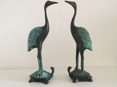 Pair bronze common cranes standing on a turtle, 2nd half of 20th century, Asia