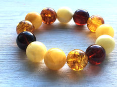Baltic amber bracelet, multicolor