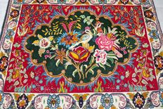 Magical finely knotted Ghom Persian carpet – bird paradise – collector's item – with certificate