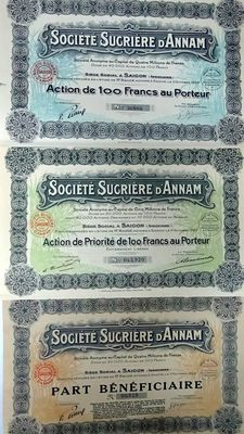Three decorative share certificates of the Société Sucriére d'Annam - French Indochina - In different colours