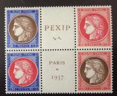 France 1937 - 2 Heart of the Block PEXIP - Yvert no. 348 to 351