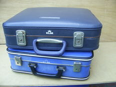 Lot with 2 old KLM flight attendant's suitcases