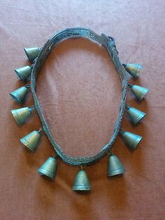 Antique bell belt with bronze bells for a horse - leather and bronze