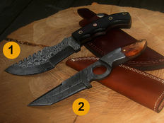 2 x Damascus steel knives - hunting knives - camping / outdoor / fishing - 21st century - handmade and 100 ml camellia-care oil