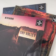 Kyuss, lot of 3 classic coloured vinyl records, Blues For The Red Sun, Welcome To Sky Valley, And The Circus Leaves Town