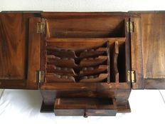 Teak notary-/letters coffin