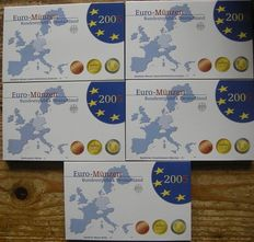 Germany – Year pack 2005 A, D, F, G, J (5 items), complete