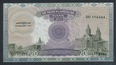 Netherlands - 20 Guilders 1939 - Emma - Replacement - NVMH 58-1