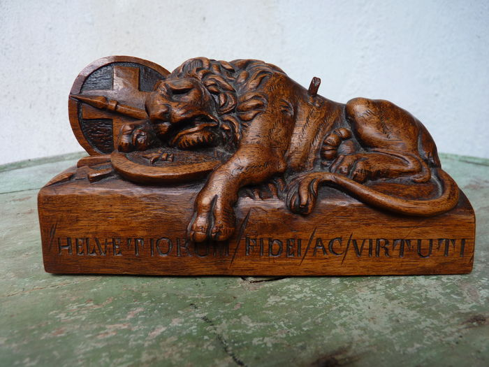 Oak wood carving the dying lion of lucerne switzerland