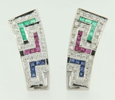 18 kt White gold, clip-on earrings set with emerald, ruby, sapphire and brilliant cut diamonds, size 23 x 9 mm.