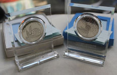 Franklin MInt - 1972 and 1973 United Nations Peace Medals with Stand - Sterling Silver