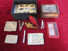 Lot of tobacco and smokers inquisites with a.o. meerschaum pipe, cigarette case and tobacco box, etc. 1st and 2nd half of 20th century
