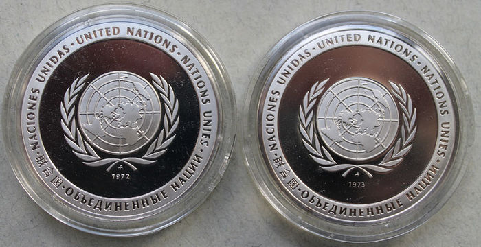 Franklin Mint 1972 And 1973 United Nations Peace Medals