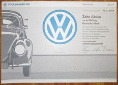 VOLKSWAGEN AG - Aktie Share 500 Deutsche Mark Wolfsburg 1991 - stock certificate of famous VW car manufacturer