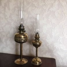 Two antique copper oil lamps with Cosmos burners