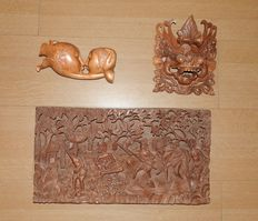 Three 3D woodcarvings - Bali, Indonesia - around 2000