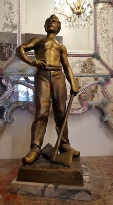 Large antimony statue of a worker - Italy - early 20th century