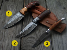 2 x Damascus steel knife (hunting knife/ camping, outdoor / fishing) - 1 x damask steel pocket knife - 21st century - handmade and 100 ml camellia-care oil