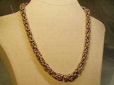 Robust silver king's braid necklace chain