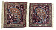 2 hand-knotted Keshan rugs, late 20th century