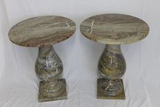 Pair of Arabescato marble table - Belgium - Middle 20th century