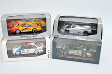 Minichamps - Scale 1/43 - Lot with 4 Models: 1 x Porsche 911, 1 x BMW & 2 x Mercedes-Benz