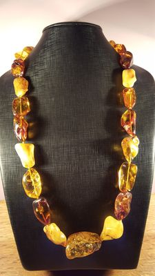 124 gram 100% natural Baltic amber necklace mixed colors