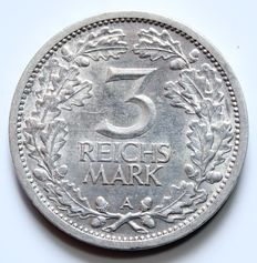 Germany, Weimarer Republic - 3 Reichsmark, 1931 A - silver