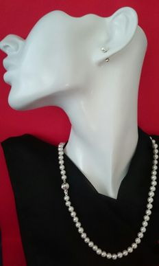 Pearl set made of fresh water cultivated pearls:  Pearl necklace plus a pair of pearls ear studs with 585 white gold - 925 silver