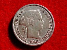 Spain - Isabel II (1833 - 1868) - 40 escudo cent silver coin (5.00 g -  23 mm) - Coined at the Madrid Mint, 1866.