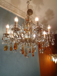 A bronze and crystal eight light chandelier, France, mid 20th century