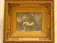 F. v. Goor. (working from 1835 -1845) - Paarden en hond in stal.