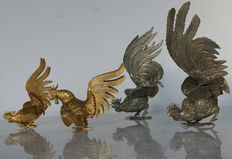 Four beautiful roosters -France- approximately 1950