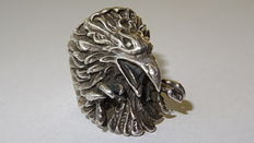 Wide remarkable men's eagle ring with clawed feet