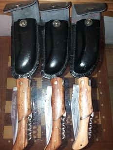 3 Laguiole knives + 3 new leather covers