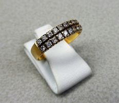 Gold double row ring with white sapphire