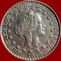Brazil - Republic of Brazil, 2000 silver reis, 1913.