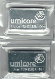 Silver bars 2 x 1 troy ounce (2items) in foil packaging - Umicore