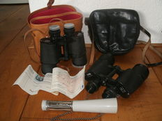 Two powerful binoculars with original receipt and 1 vintage (working) flashlight