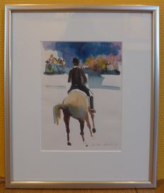 3 works by Jan Peter van Opdheusen (1941)  - Ruiter ter paard (dressage)
